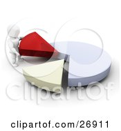 Clipart Illustration Of A White Character Separating Red And Yellow Pieces From A Blue Pie Chart