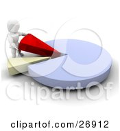 Clipart Illustration Of A White Character Inserting Red And Yellow Pieces Into A Blue Pie Chart