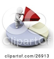 Clipart Illustration Of A White Character Standing On Top Of A Blue Pie Chart Fitting Red And Yellow Pieces Together by KJ Pargeter