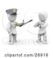 White Character Police Officer Holding A Monadnock Control Baton And Standing By A Handcuffed Criminal