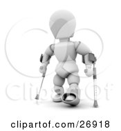 Injured White Character With One Foot In A Cast Using Two Crutches