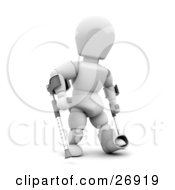 Disabled White Character With One Foot In A Cast Using Two Crutches