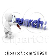 Clipart Illustration Of A White Character Holding A Magnifying Glass And Viewing A Search