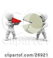 Clipart Illustration Of A White Character Holding A Large Percentage Of A Pie Chart While Another Person Holds A Small Red Piece