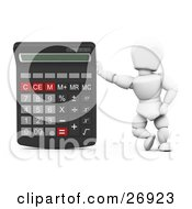 White Character Leaning Against A Giant Calculator