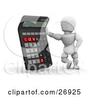 Clipart Illustration Of A White Character Standing With A Calculator