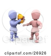 Clipart Illustration Of A Thoughtful Blue Character Giving A Golden Easter Egg To A Pink Character