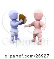 Clipart Illustration Of A Thoughtful Blue Character Giving A Chocolate Easter Egg To A Pink Character