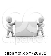 Clipart Illustration Of Two White Characters Holding Up And Presenting A Blank White Sign by KJ Pargeter