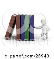 Clipart Illustration Of A White Character Leaning Against A Row Of Library Books