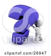 White Character Pushing Up Against A Big Blue Question Mark by KJ Pargeter