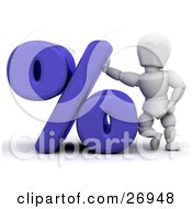 Clipart Illustration Of A White Character Leaning Against A Blue Percent Symbol