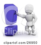 Clipart Illustration Of A White Character Leaning Against A Blue Exclamation Point