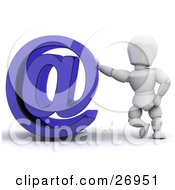 Clipart Illustration Of A White Character Leaning Against A Blue Arobase Or At Symbol by KJ Pargeter