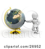 White Character Leaning Against A Globe On A Golden Stand