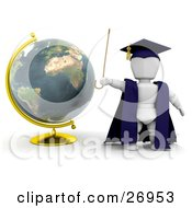 Clipart Illustration Of A White Character Teacher In A Cap And Gown Waving A Cane And Standing By A Globe by KJ Pargeter