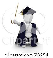 White Character Teacher In A Cap And Gown Waving A Cane