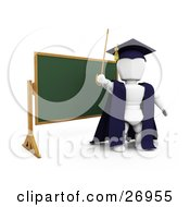 White Character Teacher In A Cap And Gown Waving A Cane And Standing In Front Of A Chalk Board
