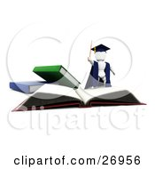 Clipart Illustration Of A White Character Teacher In A Cap And Gown Waving A Cane And Standing On Top Of An Open School Book by KJ Pargeter
