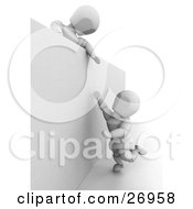 Clipart Illustration Of A White Character Leaning Over A Wall And Giving A Friend A Helping Hand by KJ Pargeter