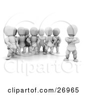 Clipart Illustration Of A White Character Leader Standing Apart From His Followers