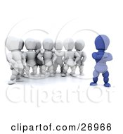 Clipart Illustration Of A Group Of White Characters Standing Behind Their Blue Team Leader