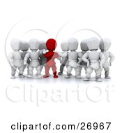 Clipart Illustration Of A Group Of White Characters Supporting Their Red Team Leader