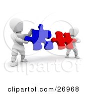Clipart Illustration Of Two White Characters Fitting Red And Blue Jigsaw Puzzle Pieces Together