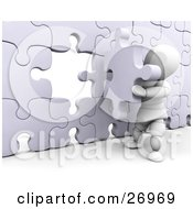 White Character Inserting The Final Jigsaw Puzzle Piece Into A Wall
