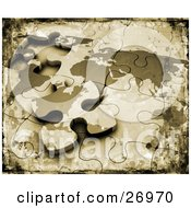 Clipart Illustration Of A Grunge Textured Background Of An Incomplete World Map Puzzle With The Last Piece Resting On Top