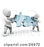 Clipart Illustration Of Two White Characters Holding Blue Jigsaw Puzzle Pieces And Fitting Them Together by KJ Pargeter #COLLC26972-0055