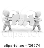 Clipart Illustration Of Two White Characters Holding White Jigsaw Puzzle Pieces And Fitting Them Together