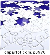 Clipart Illustration Of An Incomplete White Jigsaw Puzzle With Scattered Blue Spaces Of Missing Pieces