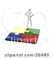 Clipart Illustration Of A White Figure Character Standing Above A Completed Jigsaw Puzzle Of Colorful Pieces