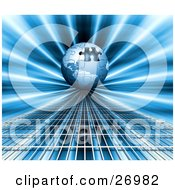 Clipart Illustration Of A Blue Jigsaw Puzzle Globe With One Missing Piece On A Bursting Blue Background And Grid Surface by KJ Pargeter