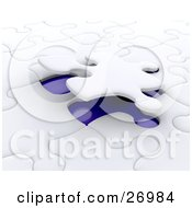Clipart Illustration Of A Piece Of A White Jigsaw Puzzle Closing Down On A Blue Space by KJ Pargeter
