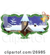 Clipart Illustration Of A Brown Church Or Building With Snow On The Roof Tops And Snow Flocked Trees On A Wintry Night With A Border Of Holly Leaves And Jingle Bells