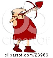 Chubby Male Cupid In Red Boots Aiming A Heart Shaped Arrow With A Bow On Valentines Day