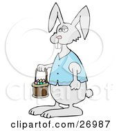 Clipart Illustration Of A Cute Gray Buck Toothed Bunny In A Blue Vest Carrying A Basket Of Colorful Easter Eggs