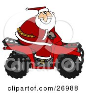 Clipart Illustration Of Santa Claus In His Red Suit Riding A Red Atv In The Snow