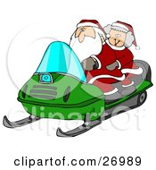 Clipart Illustration Of Santa Claus And Mrs Claus Riding A Green Snowmobile Through The Snow At The North Pole