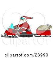Clipart Illustration Of Santa Claus Snowmobiling To Deliver Presents His Sack Of Toys In A Trailer Behind Him