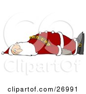 Clipart Illustration Of An Exhausted Santa Claus Laying On His Back And Looking Towards The Viewer Crashing After Delivering Gifts Worldwide