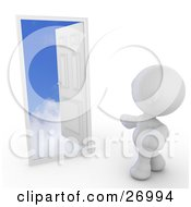 Clipart Illustration Of A White Meta Man Standing In Front Of An Open Door With A Puffy White Cloud Step And A Deep Blue Sky