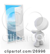 Clipart Illustration Of A White Meta Man Standing In Front Of An Open Door With Blue Waters Of The Ocean Under A Blue Sky by Leo Blanchette