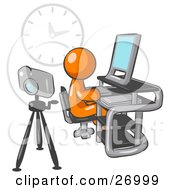 Clipart Illustration Of An Orange Man Using A Desktop Computer With A Camera On A Tripod Behind Him And A Big Clock On The Wall In The Background