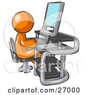 Clipart Illustration Of An Orange Man Sitting At A Desk In Front Of A Computer With A Scanner At His Side