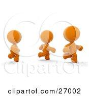 Three Orange Meta Men Racing Or Running A Marathon