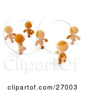 Clipart Illustration Of Orange Meta Men Racing Or Running A Marathon by Leo Blanchette