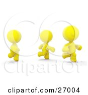 Clipart Illustration Of Three Yellow Meta Men Racing Or Running A Marathon by Leo Blanchette